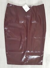NEXT size 10 faux LEATHER PENCIL SKIRT pu  BURGUNDY fitted WET LOOK oxblood PVC