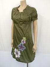 ESCADA SPORT Designer Kleid Gr.38 Blumen Perlen Taschen Kurzarm Khaki Grün