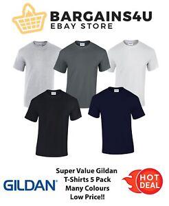 GILDAN MENS 5 PACK 100% Heavy Cotton Plain Short Sleeve T Shirt Top G5000 New