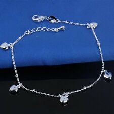 925 Sterling Silver Heart Ankle Bracelet Women Fashion Anklet Foot Chain Jewelry
