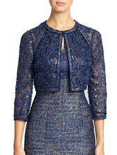 NWT $535 Kay Unger Navy Blue Confetti Lace Pewter Bolero Jacket & Dress Set Sz 2