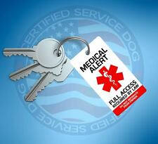 MEDICAL ALERT SERVICE DOG ID TAG KEY CHAIN / COLLAR TAGS  FOR SERVICE ANIMAL ADA