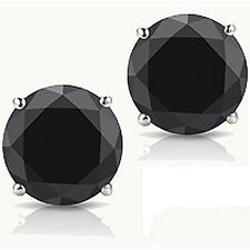 @@ Wholesale Sterling Silver 1.50ct Created Black Solitaire Round Stud Earrings