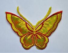 Applikationen zum Aufbügeln - Schmetterling - Gelb / Rot  Aufnäher Neu