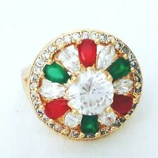 STUNING MULTI GEM RED GARNET - EMERALD NATURAL STONE GOLD RING SIZE 5