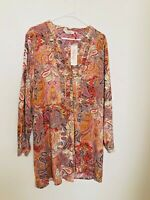 Millers tunic top women size 18 longline paisley print orange hippy festival NWT