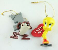 Looney Tunes Set Of 2 Ornaments Tazmanian Devil And Tweety Bird Giftco
