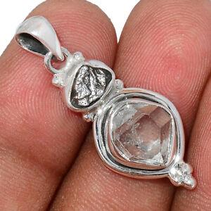 Herkimer Diamond & Meteorite Campo Del Cielo 925 Silver Pendant Jewelry BP102901