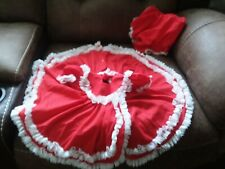 Vtg 2 Pc. BRYAN Dress Red Baby Girl Ruffle Lace 6-9 Months Frilly Party