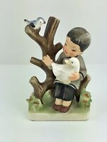 Vtg Ucagco Japan Bisque Little Boy Sitting On A Tree With Duck And Bird Figurine