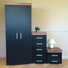 Bedroom Furniture Set Black/Walnut Wardrobe 5 Drawer Slim Chest Bedside Cabinet