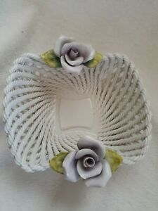 Vintage Porcelain Open Weave Lattice Bowl with Roses Made in Italy