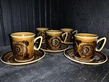 Mid Century Stavangerflint Sera Modernist, Inger Waage, Norway Cups & Saucers(5)