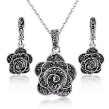 Vintage black rose marcasite Jewelry set flower pendant necklace earrings N1338