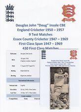 DOUG INSOLE ENGLAND CRICKETER 1950-57 RARE ORIGINAL AUTOGRAPH NEWSPAPER CUTTING