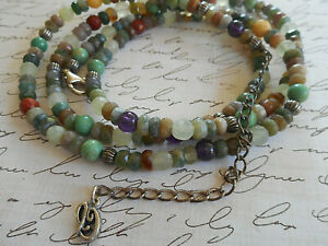 Sterling Carolyn Pollack Relios Shades of Green Gemstone Beaded Necklace  CP39-A