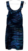 Portmans Womens Black/Blue Silk Striped Sleeveless Lined Dress Size 10