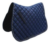 Full Horse / Cob Quilted Saddle Pad Numnahs Blue Saddlecloth
