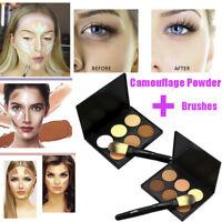 PRO 6 Colors Face Powder Camouflage Cream Contour Palette Make Up Brush Set Kit