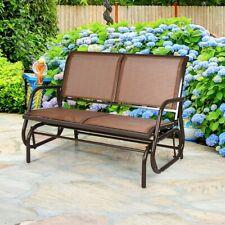 "Patio Swing Glider 48"" Outdoor Bench Chair Loveseat Rocker Lounge Outdoor Brown"