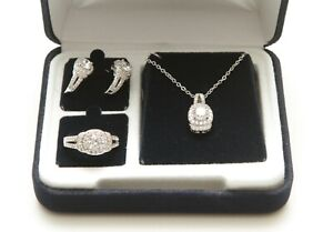 The Danbury Mint Estate Collection Diamonisse Jewelry Set Ring Earrings Necklace