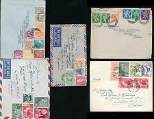 BELGIUM 1945-55 MULTI FRANKINGS ISSUES 33 stamps on 5 ENVELOPES