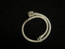 "925 Sterling Silver European Bead Charm Bracelet 7.5"""