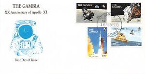 APOLLO 11 20th ANNIVERSARY GAMBIA FDC 3 COVERS 8 STAMPS 1 SOV SHT - SC # 960-968