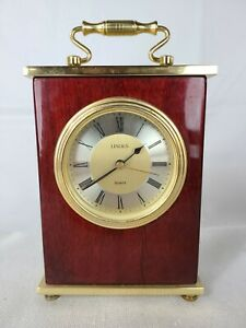 Linden Mantle Desk Quartz Clock Wood Case Brass Finish Roman Numerals