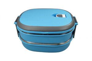 NAGO Lunchbox, Brotdose, Butterbrotdose, Frühstücksbox, Vesperdose, doppelt,blau