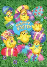 """Happy Easter Chicks Garden Flag Decorated Eggs Briarwood Lane 12.5"""" x 18"""""""