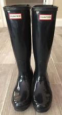 Preowned Women's Hunter Tall Glossy Navy Blue Rain Boots Size 7 EU 38 Adjustable