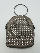 Purse Cell Phone Pouch Wrist Ring Crossbody Gray Rhinestone Faux Leather NEW