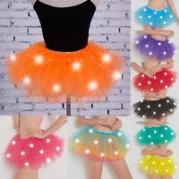 Women Girls LED Light Up Glow Dance Mini Tutu Skirt Fancy Party Nightclub Dress