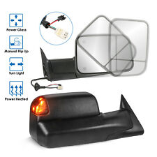 Towing Mirrors Power Heated Led Signal Lights For 98-02 Dodge Ram Lh & Rh Set