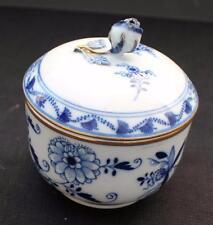 Antique MEISSEN Germany Crossed Swords Mark Blue ONION Pattern Sugar Bowl w Lid
