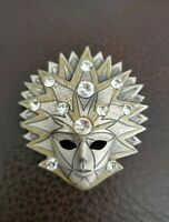 Vintage Venetian Mask silver & goldtone Diamante Pin brooch abstract quirky vtg
