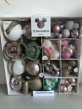 Disney Minnie & Mickey Mouse Pastel 25 baubles Christmas Decorations Tree Topper