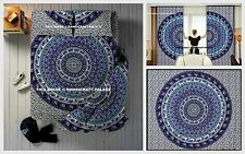 5  PC Indian Star Mandala Duvet Doona Cover With Curtains Set & Bed Sheet