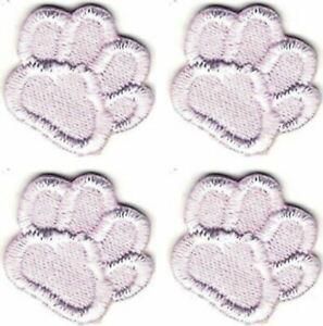 Lot De 4 Rose Blanc Chien Animal Patte Imprimé Broderie Patch