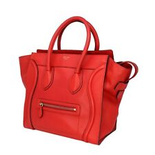 CELINE Red Vermillion Grained Leather Mini Luggage Tote SHW - Retail $3,100