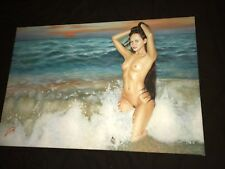 FINE ORIGINAL PIN UP PORTRAIT PAINTING NUDE WOMAN ON BEACH ARTIST SIGNED 24X36