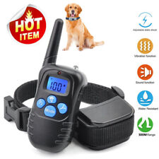 300 Yard Pet Training Collar Rechargeable 100LV Shock Vibrate Remote No Barking
