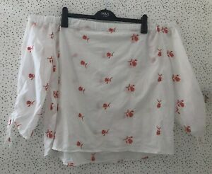 White Bardot Top With Coral Floral Embroidered Tie Sleeves Blouse Top UK 20/ 22
