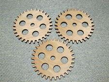 """Lot of 3 Wood Wooden 3"""" Gears Gear Cog sprockets Steampunk Wall Art Decor #4"""