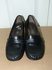 Ladies Black Leather GABOR Cuban Heel Loafer Sze 6 (39)