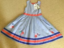 New With Tags Blue Pinstripe Cherry Detail  Dress By M&S In  Age 6-7 Years