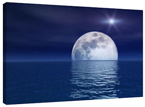 Purple Blue Moon Canvas Wall Art Picture Print also Black and White or Sepia
