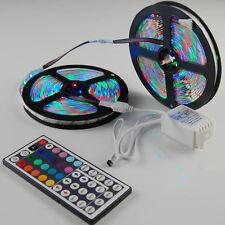 10M 3528 RGB SMD 600LEDs 2X 5M led light strip + 44 Keys IR Remote Controller