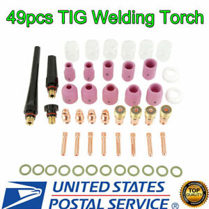 49pc TIG Welding Torch Body Parts Gas Lens Nozzle Collet Cup Kit For WP-17/18/26